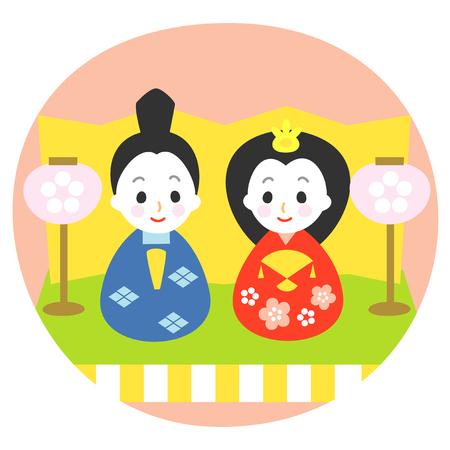 Japanese Dolls Festival on March 3, illustration 写真素材