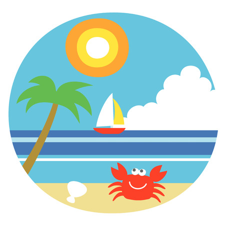 Summer beach, a crab and the sea, a yacht, illustration Stock fotó