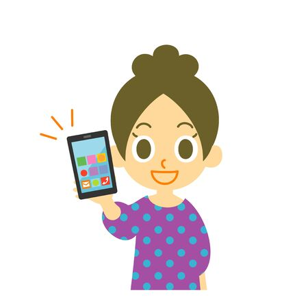 Young woman holding smartphone, illustration