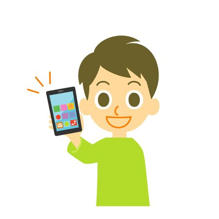 Young man holding smartphone, illustration