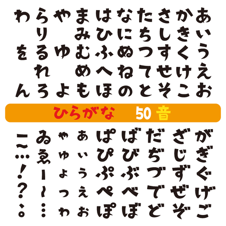 Japanese hiragana fonts Stock Illustratie