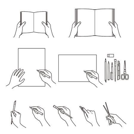 Hand gestures 02, books, stationery, writing tools, vector file set