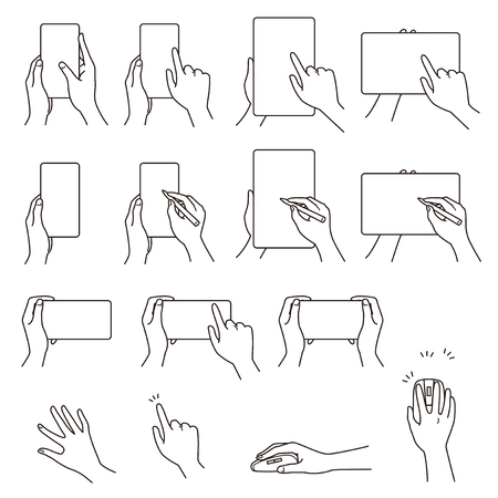 Hand gestures 03, smartphone, tablet PC, vector file set