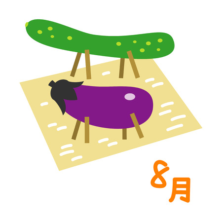 Japanese traditional event bon festival, cucumber horse and eggplant cow, August in Japanese, illustration