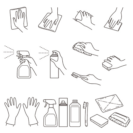 Hand gestures 04, clean up and cleaning supplies, vector file set