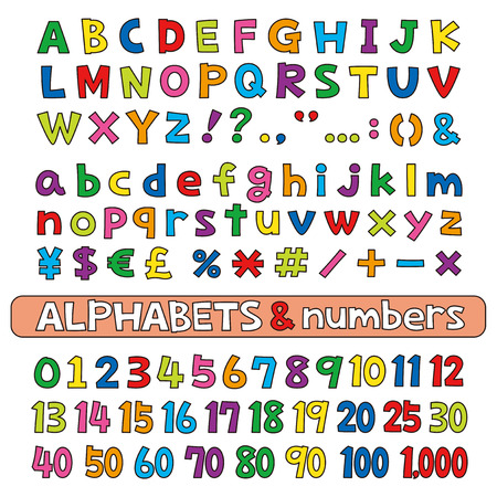 Alphabets and numbers, color, fonts vector set Illustration