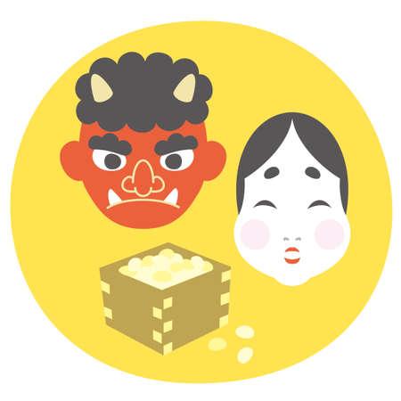 February Setsubun Red Demon and the God of Fortune 版權商用圖片