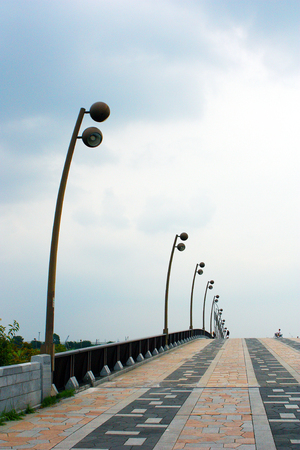 Slope and street lamp photo