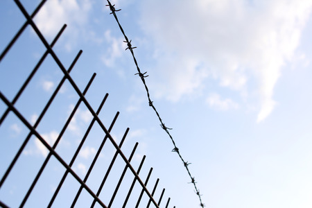 defense facilities: Barbed wire and fence