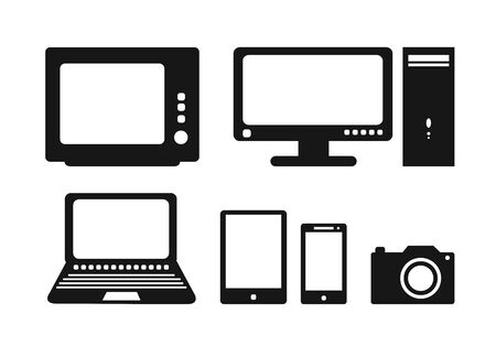 portable console: Black and white electronic icons Illustration