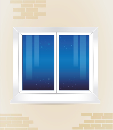 window view: window with the night view Illustration