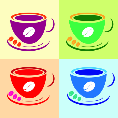 warhol: set of colored coffee cups in Andy Warhol style Illustration