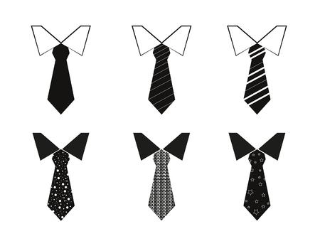 neck ties: Set of 6 illustrated neck ties