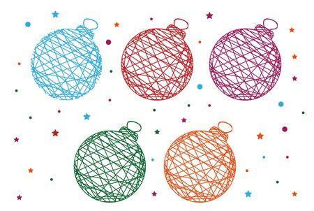 christmass: 5 thread-like pattern Christmass balls