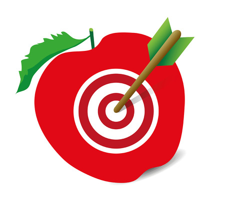 hit: arrow hit the target in the apple