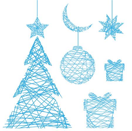 christmass: Blue christmass elements