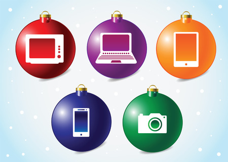 electronic background: christmass ball background with an electronic equipment