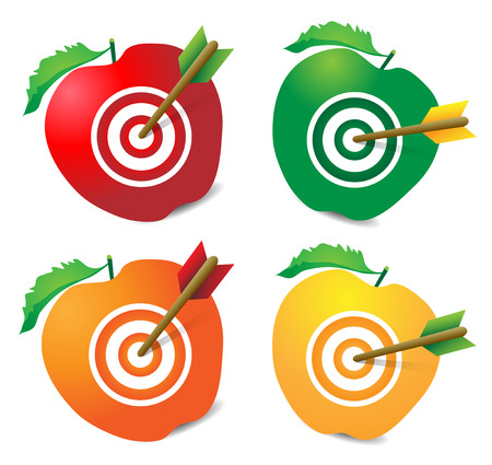 incentives: colorfull targets with arrows in the middle of apple