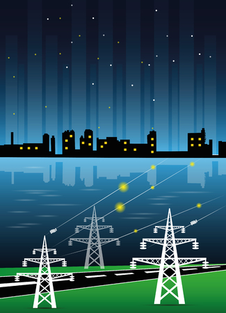 electricity pylon: electricity transmission to the city by high voltage poles