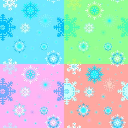 pastel backgrounds: Seamless backgrounds with snowflakes in pastel tones