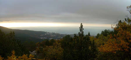 Landscapes of Crimea  - Autumn dawn over Yalta photo
