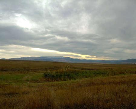 Autumn day on the Crimean fields photo