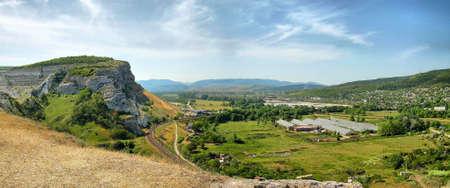 valley, mountain, track, railroad, tree, train, photo