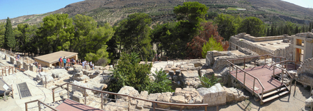 picturesque ruins of an ancient Minoan palace, Crete, Greece, the history of Europe