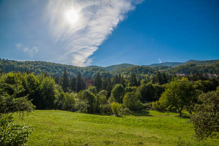morning sky: Mountain landscape in the early morning sky with clouds. Carpathians