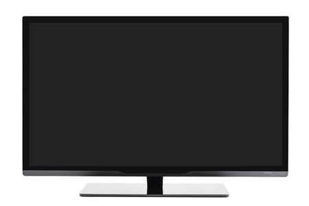 flat screen: Frontal view of widescreen internet tv monitor isolated on white background Stock Photo