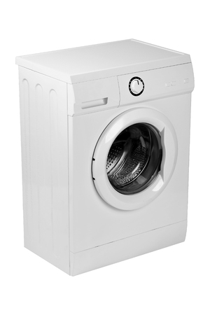 major household appliance: New isolated washing machine on a white background