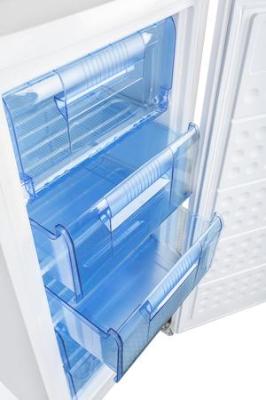 icebox: New white refrigerator isolated on white background Stock Photo