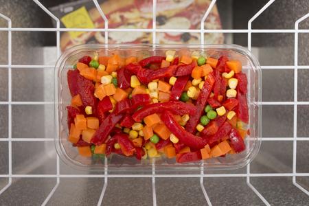 major household appliance: Frozen vegetables lie in the freezer