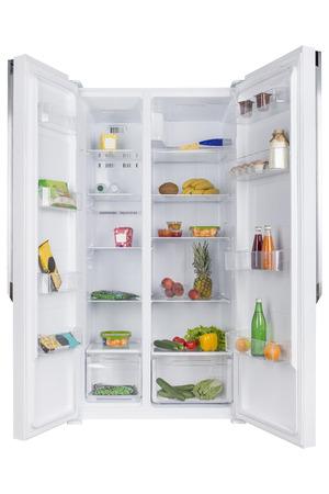 신선한 과일과 야채, 건강 식품 배경, 유기 영양, 건강 관리, 다이어트 개념의 전체 오픈 냉장고