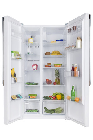 Open fridge full of fresh fruits and vegetables, healthy food background, organic nutrition, health care, dieting concept Banco de Imagens