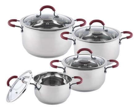 utensilios de cocina: New stainless steel saucepan isolated on white background Foto de archivo