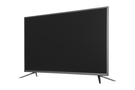 Frontal view of widescreen internet tv monitor isolated on white background Stock Photo