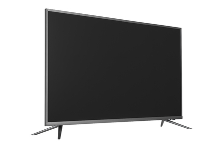 Frontal view of widescreen internet tv monitor isolated on white background 免版税图像