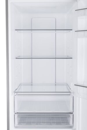 Nuovo frigorifero isolato su sfondo bianco. Cucina moderna e grandi elettrodomestici domestici Archivio Fotografico