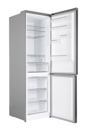 New Refrigerator Isolated on White Background. Modern Kitchen and Domestic Major Appliances Stockfoto