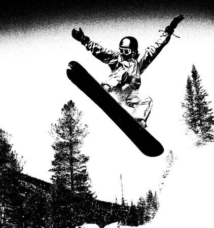 Snowboarder jumping high in the air black & white