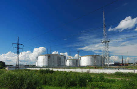 benzene: Oil metal tanks Stock Photo