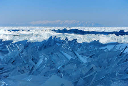 Splinters of broken ice on the Lake Baikal, Russia photo