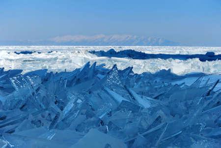 Splinters of broken ice on the Lake Baikal, Russia photo
