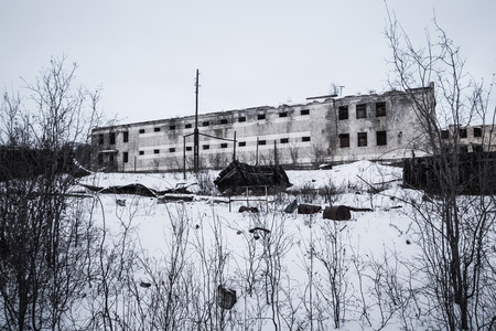 pokey: Exterior of old decayed abandoned prison in Kolyma