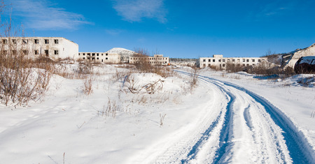 bldg: Abandoned settlement in Northern Kolyma winter view