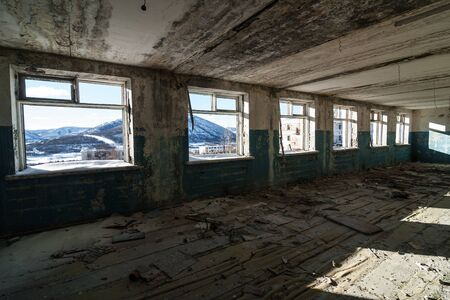 Interior of old ruined prison barrack in Kolyma