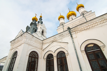 Walls, towers and cupolas of old Orthodox cathedral