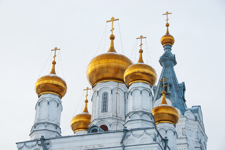 Golden cupolas and towers of old orthodox cathedral
