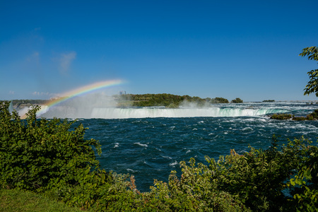 horseshoe falls: Niagara Falls, horseshoe and Rainbow Stock Photo